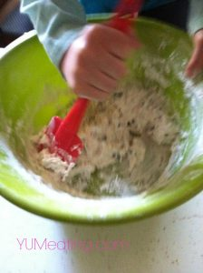 lil m mixing the soda bread