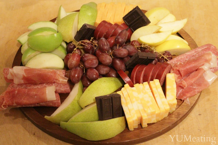 round cheese meat platter & Quick Meal: Fruit Meat Cheese and Chocolate Tray with Wine ...