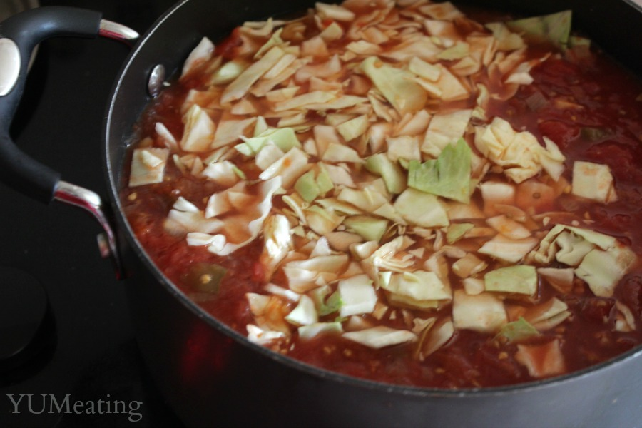 cabbage soup on the stove