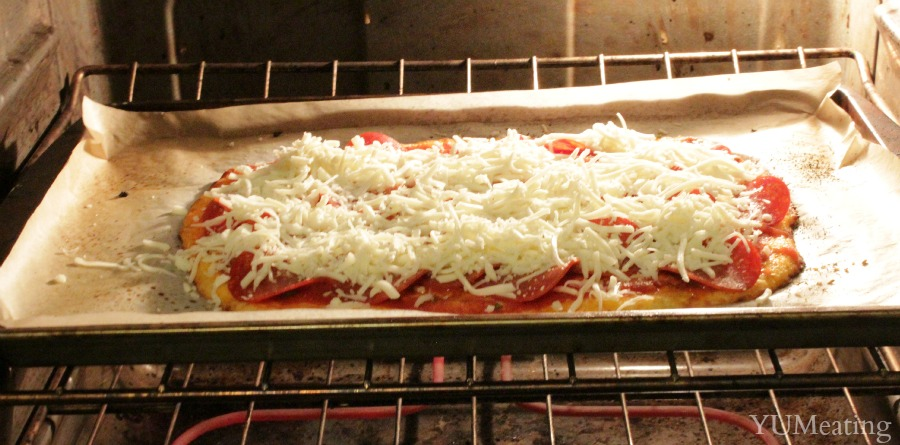 chicken and cheese pizza oven view