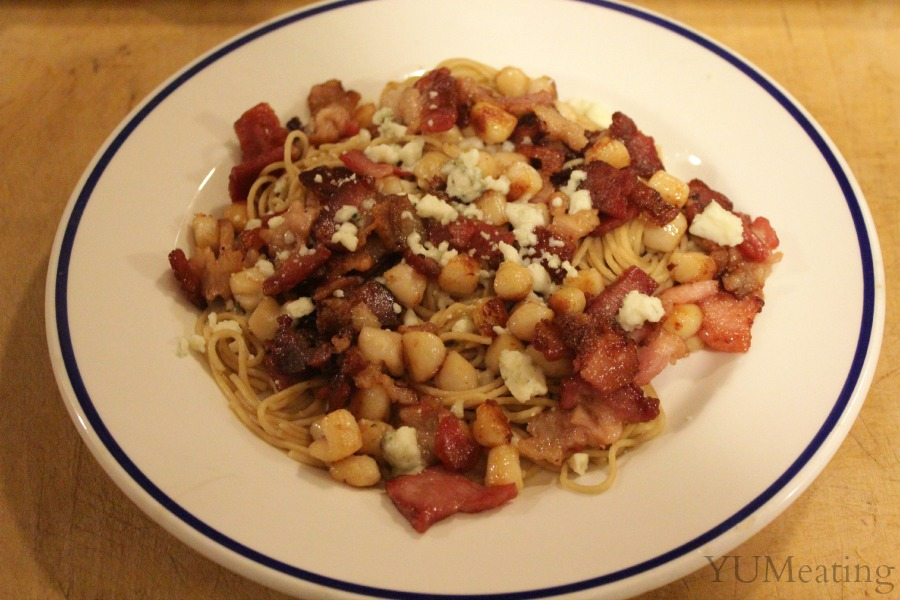 blue cheese bacon scallop pasta