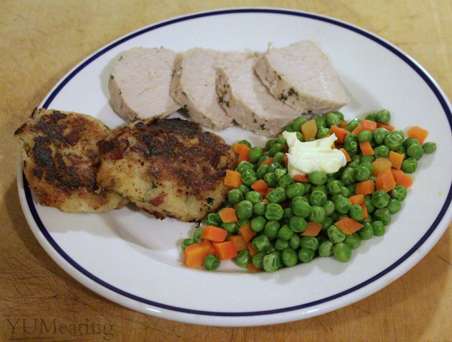 potato cakes with pork loin meal