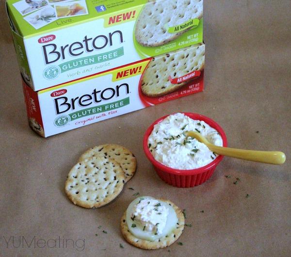 breton crackers and skinny beer dip