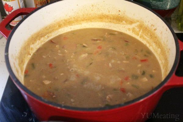 chicken sausage gumbo simmer
