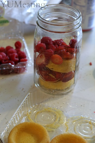 shortcake in a jar with layers