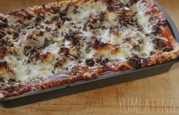 completed family style lasagna