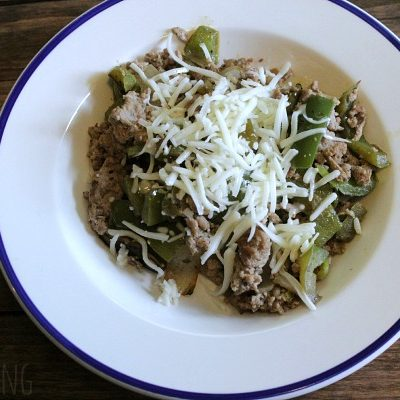 One Pan: Low Carb Sugar Free 'Philly Cheesesteak'