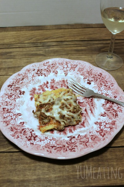 skinny lasagna plated with wine