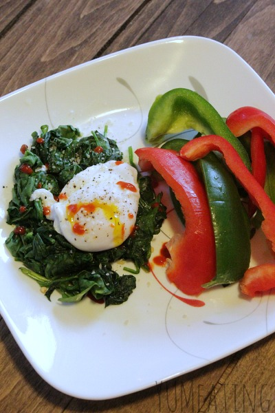 sriracha poached egg spinach