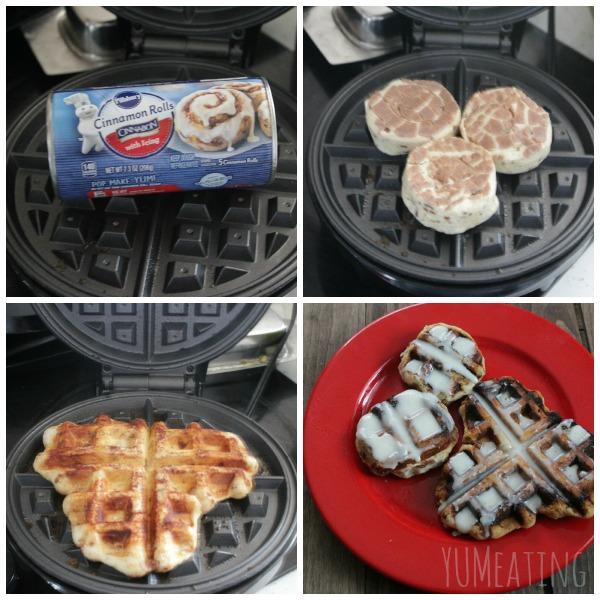 tagged cinnamon rolls on waffle iron